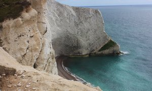 Chalk cliffs in West Wight, Freshwater Bay